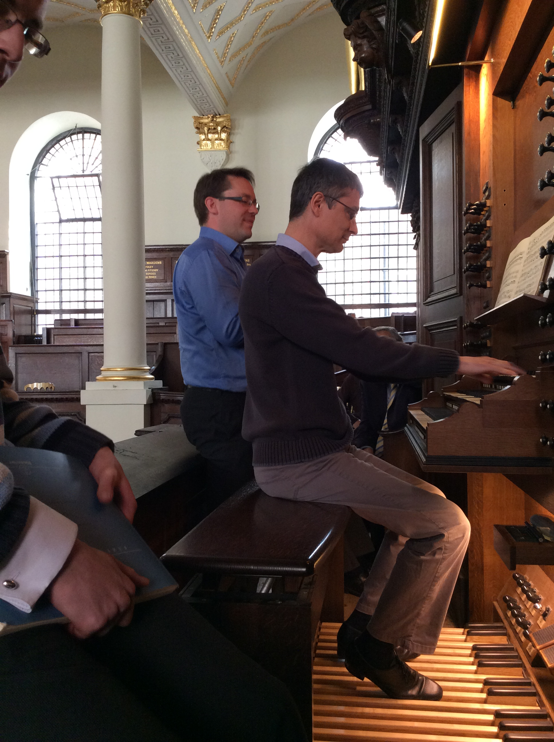 Image: Michael Hennin at the organ with Robin Walker
